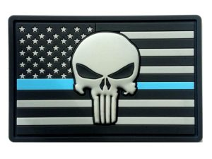 American Flag PVC Patch + Thin Blue Line + Skull